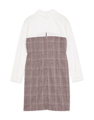 Faux Two-piece Linen Shirt Dress