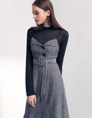 Elegant Herringbone Linen Belted Fake 2-piece Cami Dress