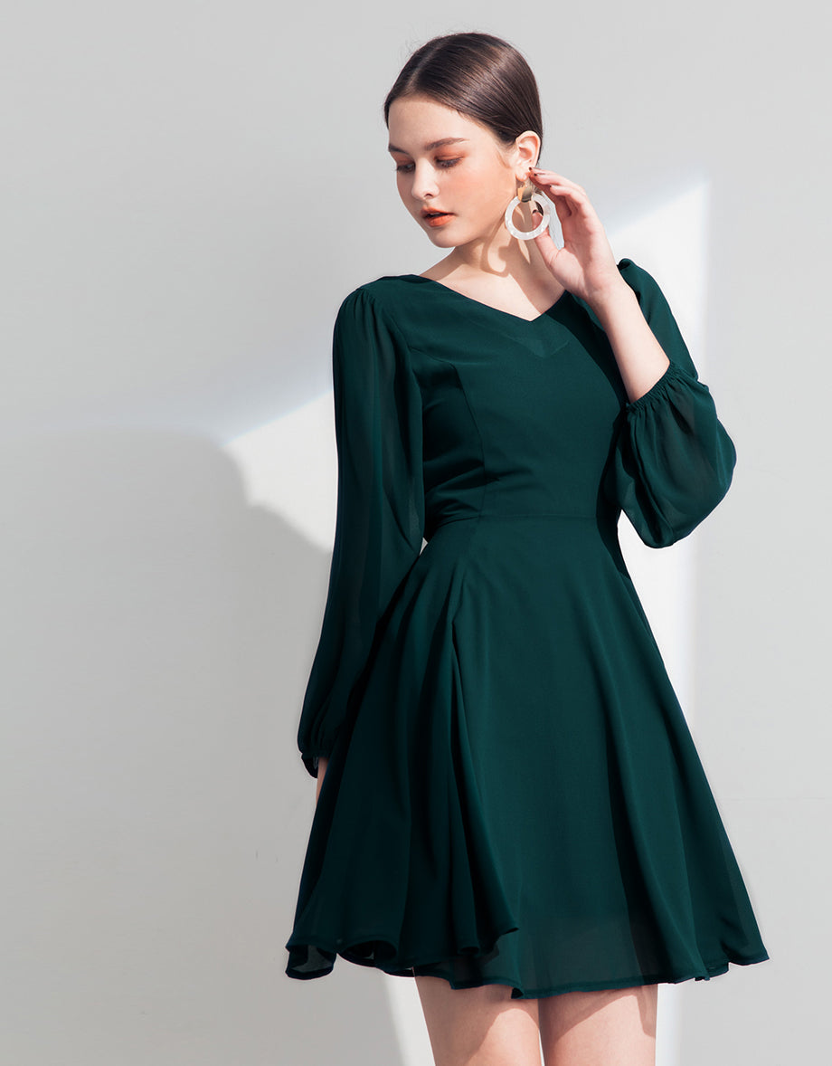 ac9ce6e6bf45 V-neck Chiffon Flare Dress with Puff Sleeve - AIR SPACE