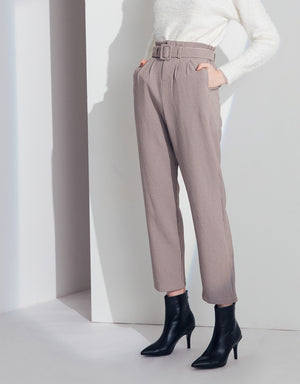 High-rise Plaid Belted Pleated Paperbag Pants