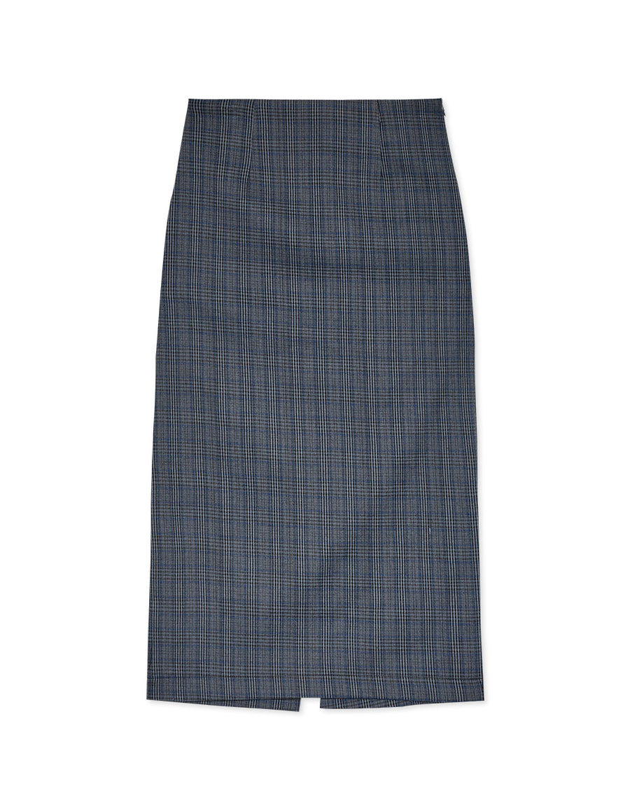 2WAY FLANNEL PLAID SPLIT MIDI SKIRT