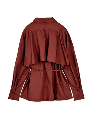 Minimalist High-low Flare Belted Blouse