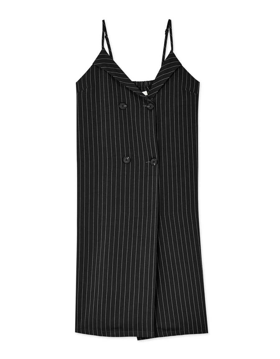 Textured Double-breasted Cross Neck Striped Cami Dress