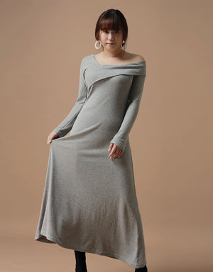 Elegant One-shoulder Turndown Collar Flare Dress