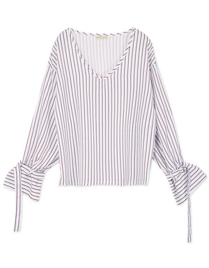 V-neck Silk Striped Top