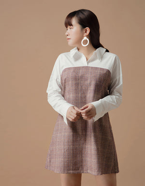 Fake Two-piece Linen Shirt Dress