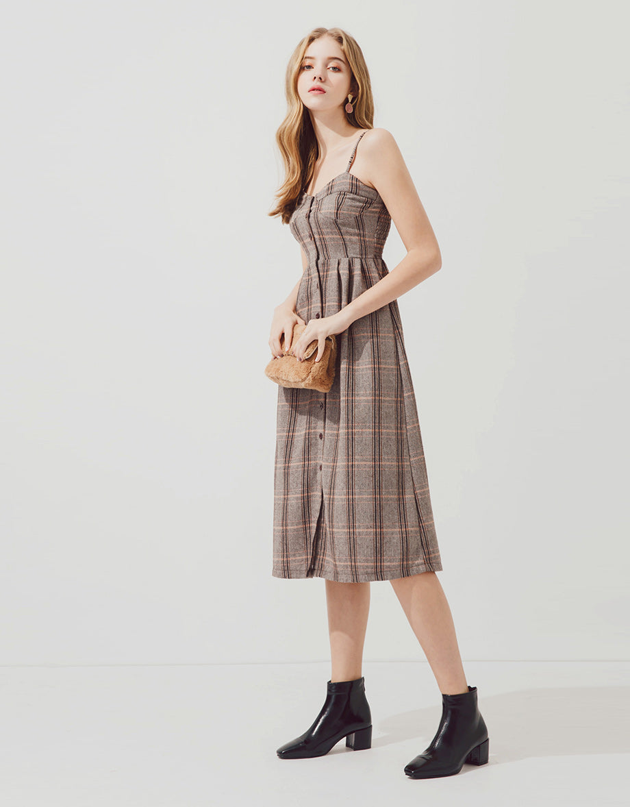 d1b0751d219 Shirred Back Button Linen Plaid Cami Dress - AIR SPACE