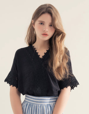 Jacquard Lace Trim V-Neck Top