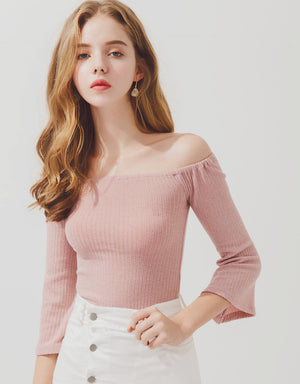 Minimalist Off Shoulder Knitted Crop Top