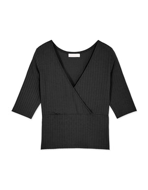 Cross Neck Low Cut Ribbed Top