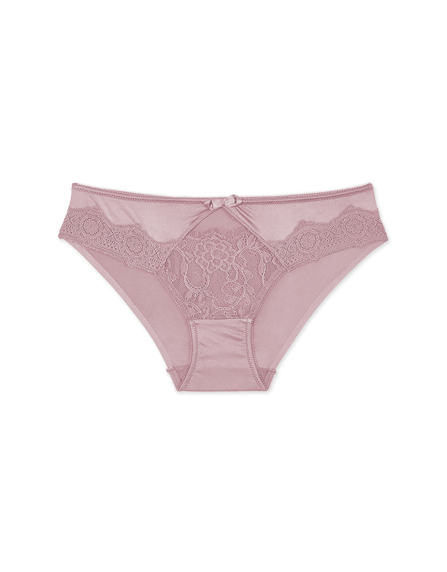 Hollow Lace Ice Silk Brief Panty