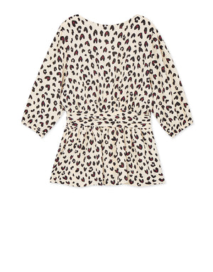 Leopard Print Ribbon Wrap Top