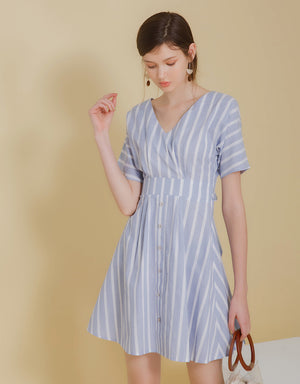 Hollow Back Striped Dress