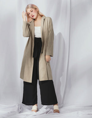 Lapel Cotton Longline Jacket