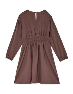Back Shirred Puff Sleeve Button Silk Dress
