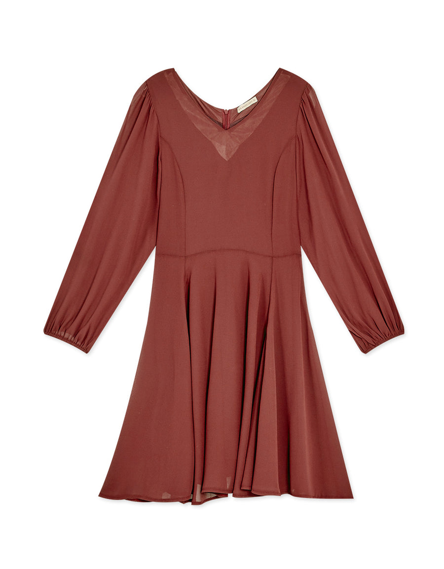 V-neck Chiffon Flare Dress with Puff Sleeve