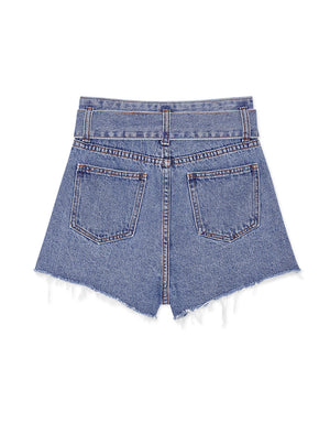 Belted Denim Shorts with Frayed Hem