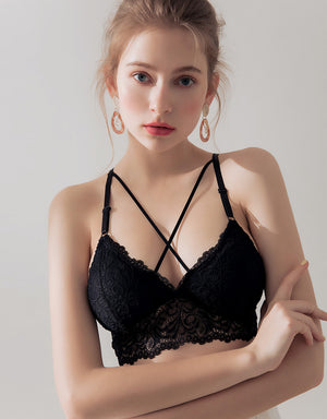 Cross Strappy Lace Bralette with detachable padding
