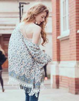Floral Cardigan Featured with Fringed Tassels