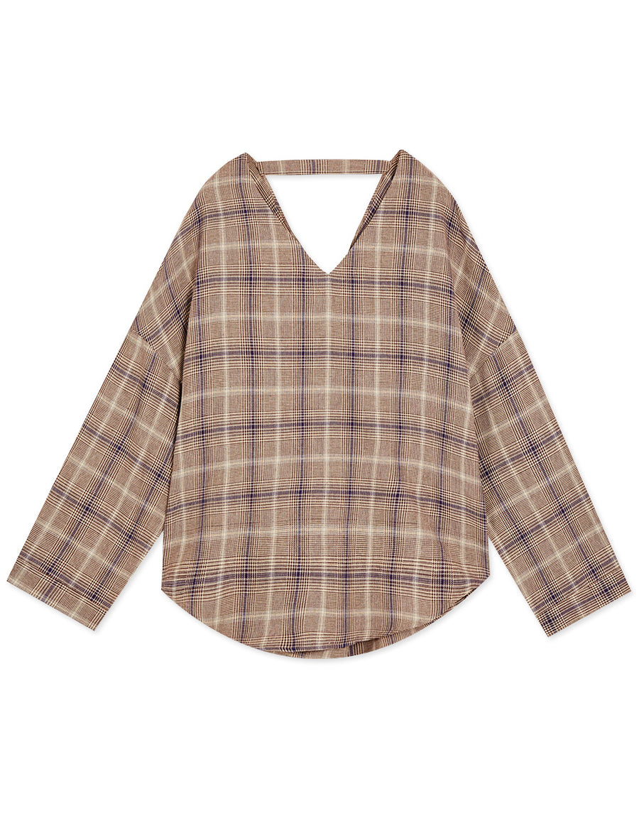 Hollow Twisted Back Plaid V-neck Top