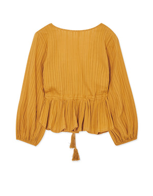 V-Neck Tassel Creased Top