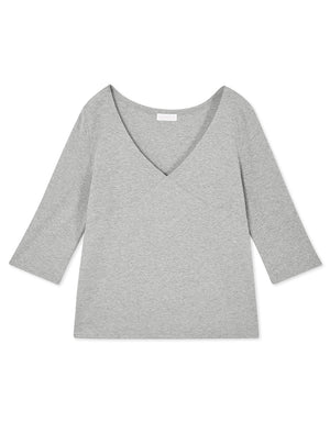 V-neck 3/4 Sleeve Ribbed Top