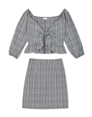 Off Shoulder Ruffle Plaid Set Wear