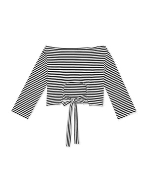 Back Hollow Ribbon Striped Off Shoulder Top