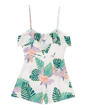 Tropical Print Flower Button Up Playsuit