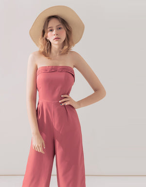 Textured Straight Neck Jumpsuit