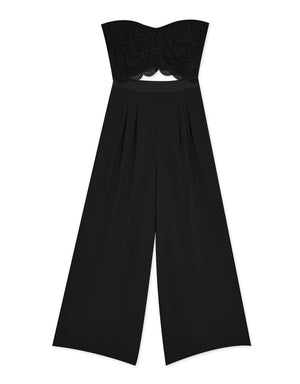 Chiffon Lace Straight Neck Jumpsuit