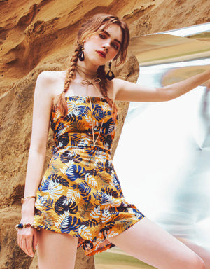 Tropical Print Thin Strap Playsuit