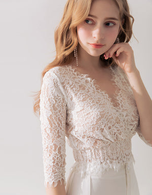 V-NECK EYELASH LACE TRANSPARENT TOP