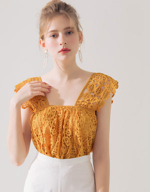 SWEET LACE JACQUARD TOP