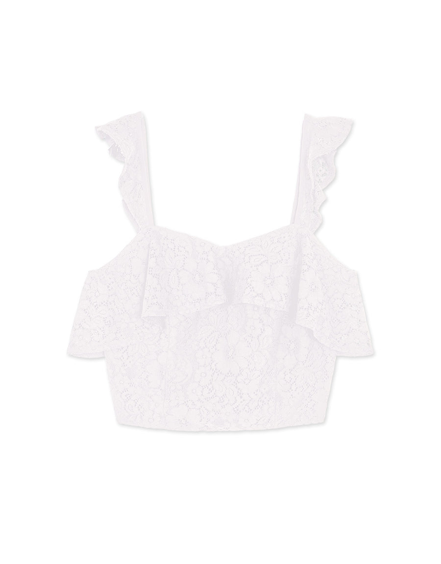 WIDE STRAPS LACE RUFFLE NECK TOP