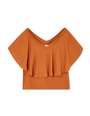 Off Shoulder Double Layer Chiffon Top