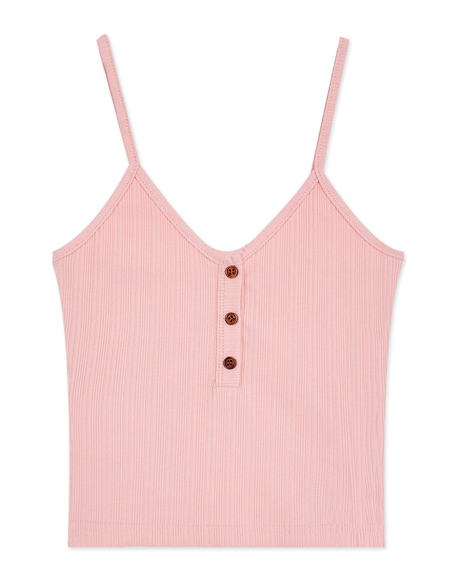 U Neck Button Up Ribbed Thin Strap Cami
