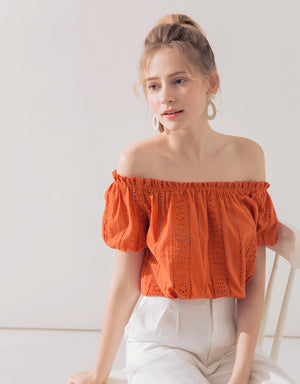 Off Shoulder See Through Lace Crop Top