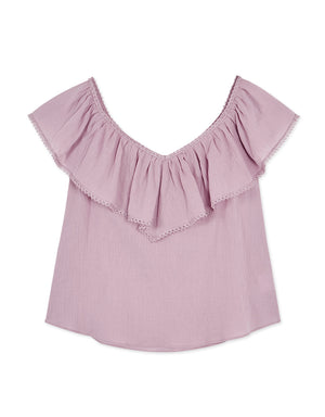 2 Way Lace Trim Ruffle Top