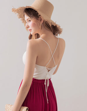 Ribbed Thin Strap Back Crossover Top