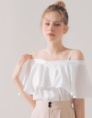 2Way One Shoulder Button Up Ruffle Top