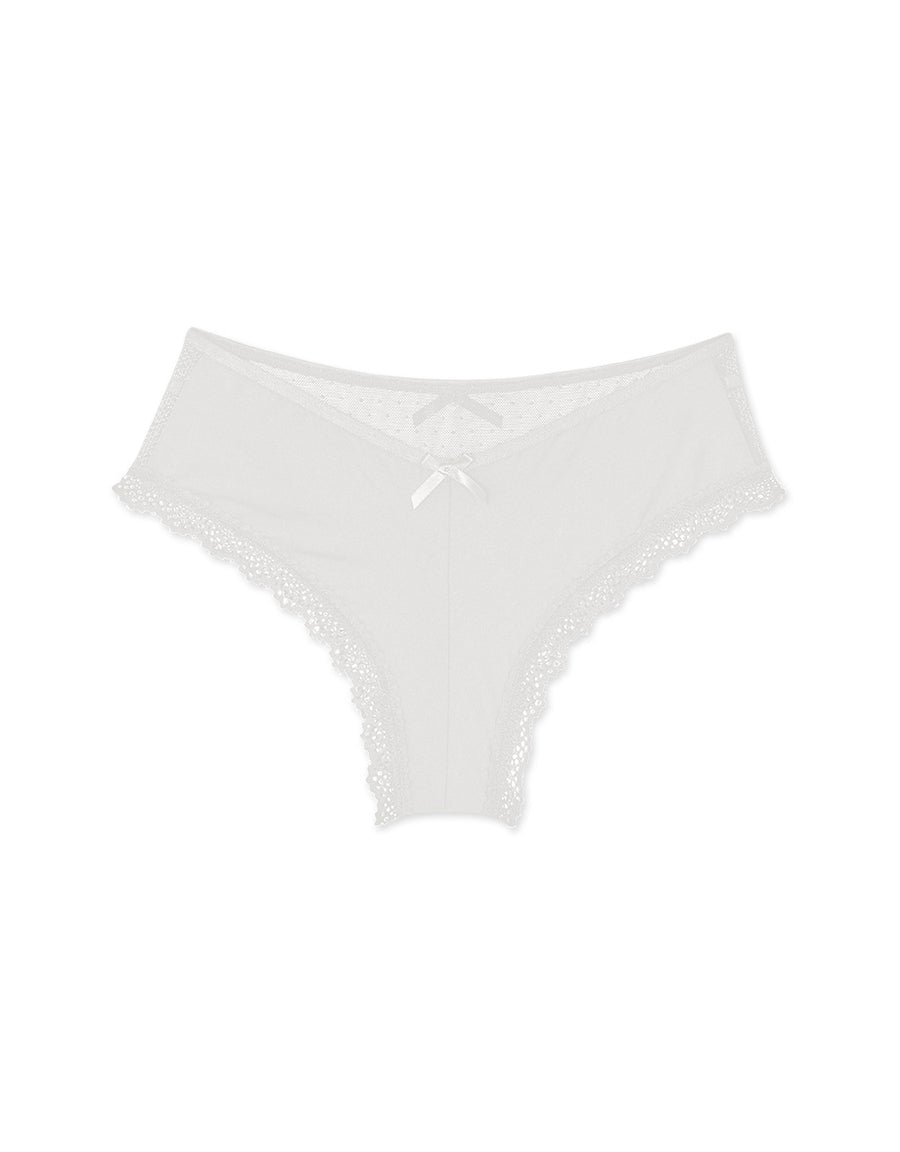 Double Bow Mesh Ice Silk Brief Panty