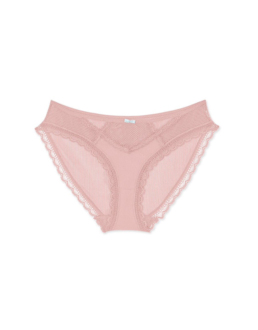 Hollow Lace Striped Brief Panty