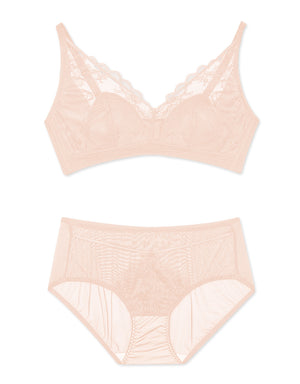 LACE MESH WIRELESS BRA SET
