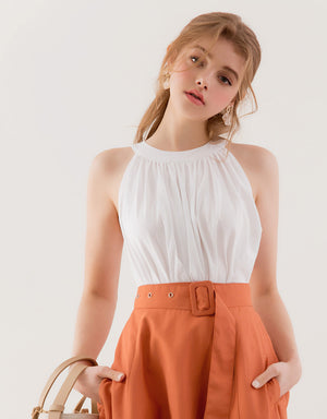 Wooden Belted Halter Top