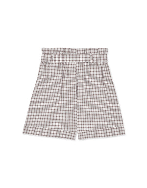 High-rise Belted Plaid Shorts