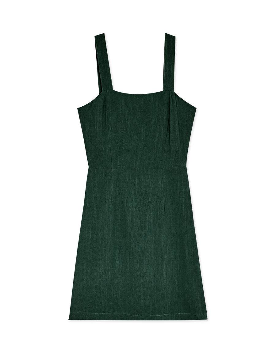 Square Neck Wide Strap Fit Dress