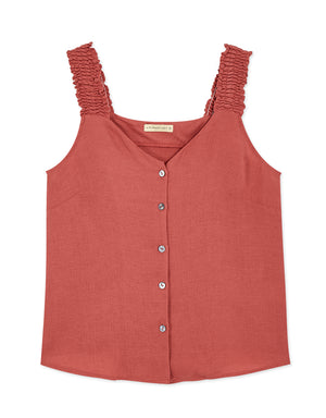 RUFFLE STRAP BUTTON TOP
