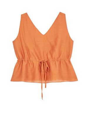 V-NECK DRAWSTRING WAIST SLEEVELESS TOP