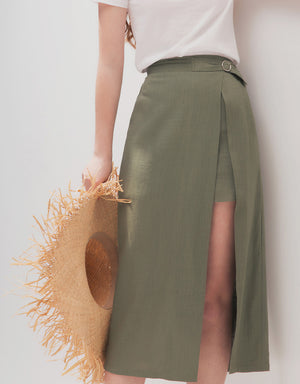 TEXTURED METAL SIDE SLIT MIDI SKIRT